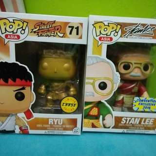 Funko Pop Exclusive Gold Ryu and Stanley
