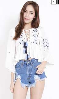White embroidered tassel top
