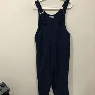 TEMT Navy Jumpsuit with Buckle Detail