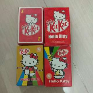 绝版Sanrio Hello Kitty + Kit Kat朱古力啤牌playing cards 4盒
