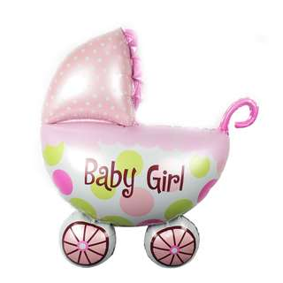 PartyHero jumbo stroller ping baby girl foil balloon with helium