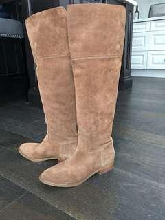 Michael kors MK size 8 brown suede tan boots flats