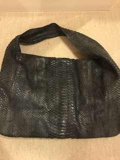 Snake leather navy blue bag
