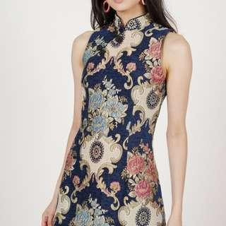 MDS Camellia Cheongsam Dress in Navy