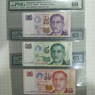Singapore 1999 portrait series prefix 0YI 019554 identical serial number