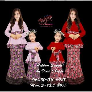 RAYA PEPLUM SONGKET (MUM  & GIRL SET)