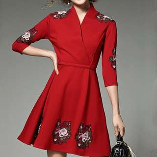 Pretty Fashion Tying Waist Floral Embroidered Dress - ON/DZC122104