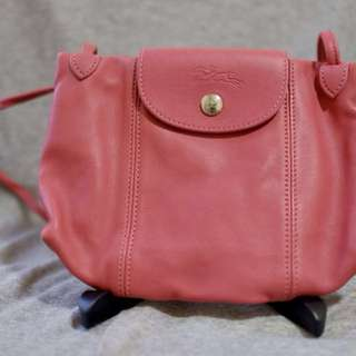 Longchamp Leather Le Pliage Cuir Mini Crossbody 95% New 100% Authentic 羊皮 斜咩袋