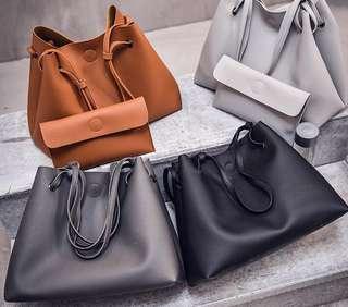 Instock Pebble Leather Tote Bag With Wallet Basic Shoulder Bag Handbag Weekend Diaper Babybag Large - 5 Colors