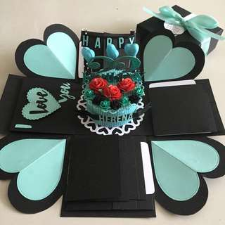 Explosion box with  cake, 12 waterfall  in black & Tiffany