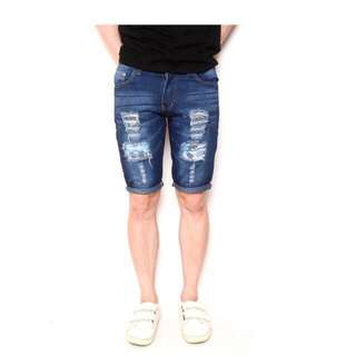 Fashion Men Casual Tattered Denim Swag Shorts