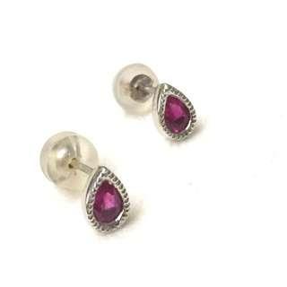 18K Ruby Teardrop Earrings
