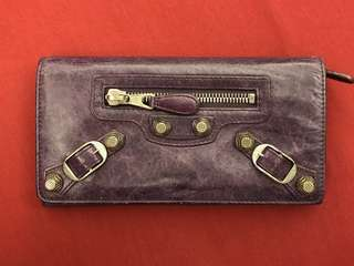 Balenciaga Wallet Purple Leather