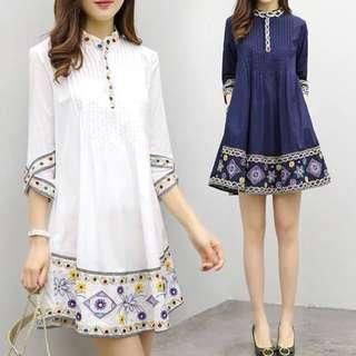 (S~2XL) Embroidered dress female summer new long skirt Korean temperament sleeve A white skirt