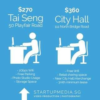 Dedicated Desk Office Share @ City Hall & Tai Seng (3-4min walk from mrt)