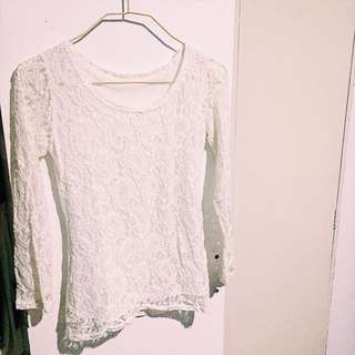 White lace long sleeves