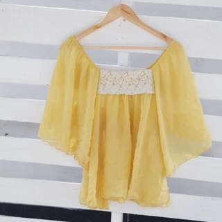 Lemon Butterfly Sleeve Sheer Top