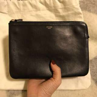 95% new authentic Celine trio clutch bag dark navy