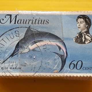 100 STAMPS LOT ( 1 BUNDLE ) - MAURITIUS  - BLUE MARLIN , Fish Marine Life - Commemorative - Used Stamp
