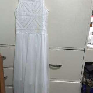 H&M long white dress