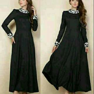 Black Exogoing Glow Maxi  Bahan spandek belakang use sleting fit to L