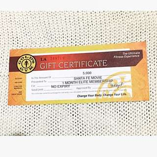 Gold's Gym Gift Certificate