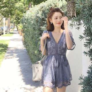 (FREE POST)Blue Lace Rompers