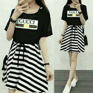 Set 2in1 Gucci navy[revisi]  spandek salur inner dress + outer ada tali serut fit L