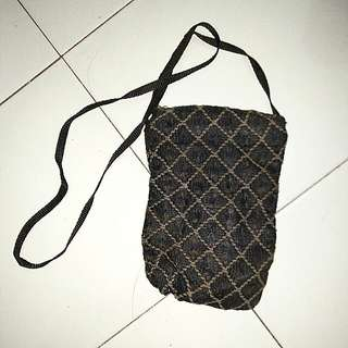 Sling bag hand made anyaman mix brukat