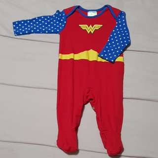 Wonder woman baby footed sleepsuit 3-6months