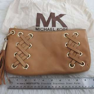 NWOT Michael Kors leather clutch with tassel