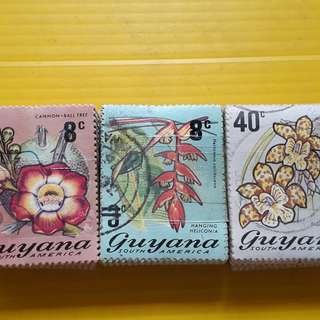 GUYANA - 3 x 100 STAMPS LOT ( 3 BUNDLES )  - Commemorative - vintage Used Stamp