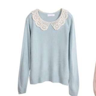🚚 蕾絲領粉藍毛衣