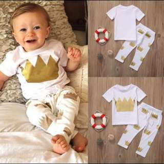 🦁Instock - 2pc gold crown set, unisex baby infant toddler girl boy children sweet kid happy abcdefg