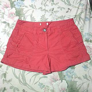 Red Cotton Short Size L