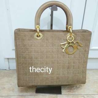 AUTHENTIC DIOR , LARGE LADY DIOR IN SUEDE MICROFIBER CANVAS