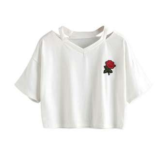 #0078 Embroidered Rose Fake Two Piece Top