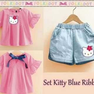 Setelan hello kitty pink blue ribbon kids