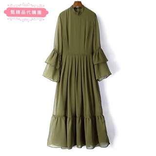 🚚 (現貨)秋季新款喇叭長袖雪紡連身裙氣質顯瘦荷葉邊長洋裝