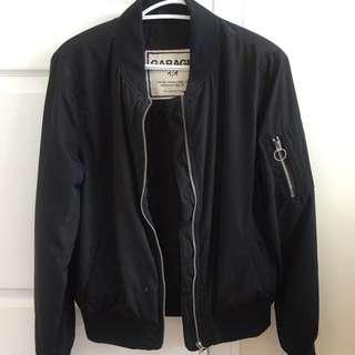 Thick black bomber jacket