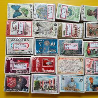 JAMAICA - 20 x 100 STAMPS LOT ( 20 BUNDLES )  - ALL DIFFERENT - Commemorative - vintage Used Stamp