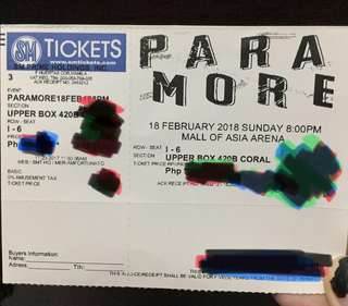PARAMORE UPPERBOX TICKET