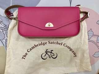 Cambridge Satchel Clutch Orchid with shoulder strap