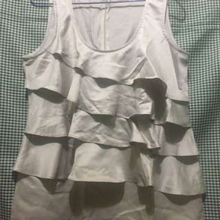 Old Navy Ruffled Satin Top with flaw