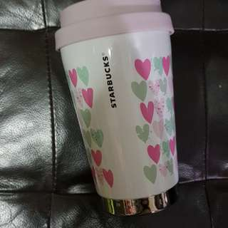 Starbucks Tumbler Elma thermal flask hearts pattern
