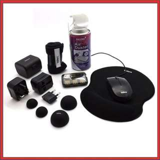 Notebook Essential Kit (Mouse,Mouse pad,Travel Adaptor,Cooler Ball Bases,Air Duster,Cleaning Cloth,USB Combo Hub)