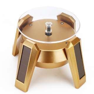 ✅ High LED Glow Gold Plated Silver White Black Solar Power 360 Rotating Display Stand Turn Table Plate For Ring Necklace Bracelet Jewelry