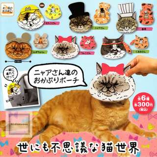 {Feb Gacha PO}  World mysterious cat world covered with pears Nyaa pouch 世にも不思議な猫世界 ニャアさん達のおかぶりポーチ 6pcs set