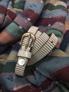 Full Leather White Belt