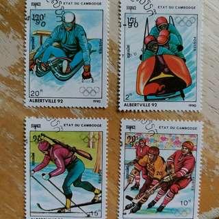 柬蒲塞郵票冬季奥運動会已銷郵票4枚
